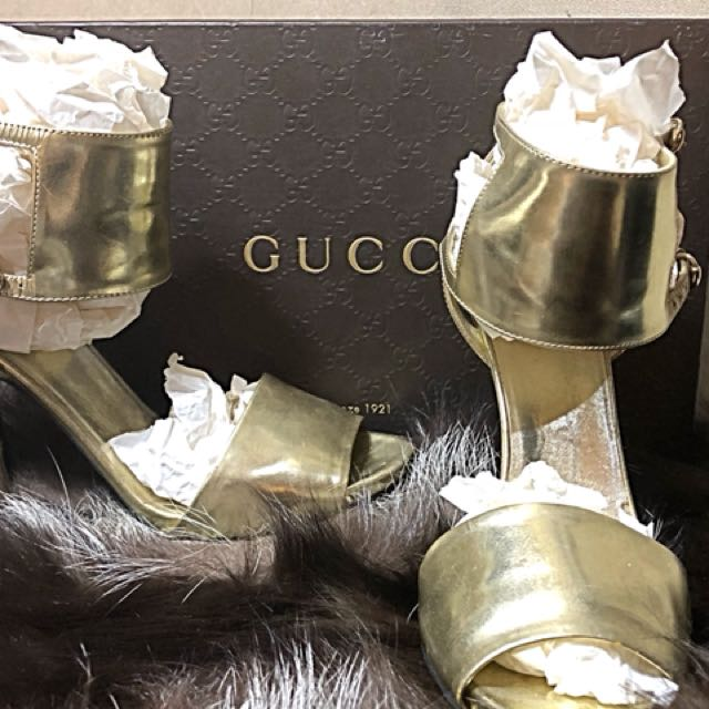Gucci Gold strapy heels - collector limited edition