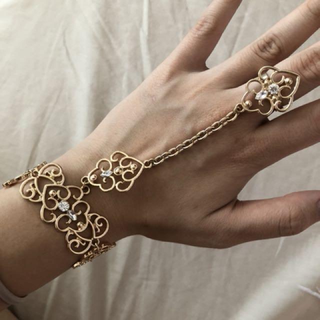 Hand chain ring bracelet gold