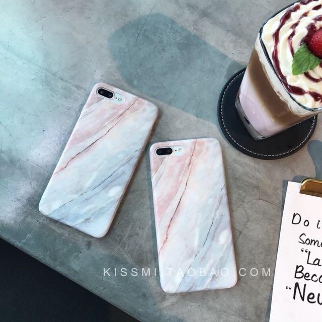 Iphone6/6s混色大理石紋手機殼 軟殼 英石粉 寧靜藍