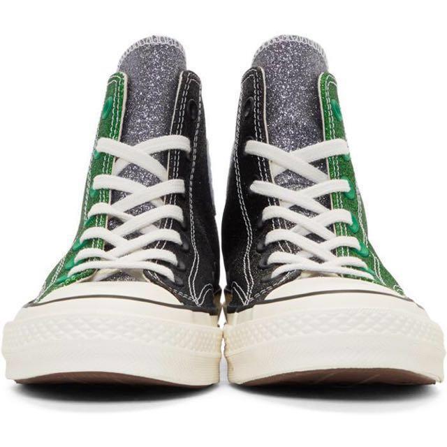 JW Anderson X CONVERSE Chuck Taylor 70 Hi Glitter Green Black 64ef9330b
