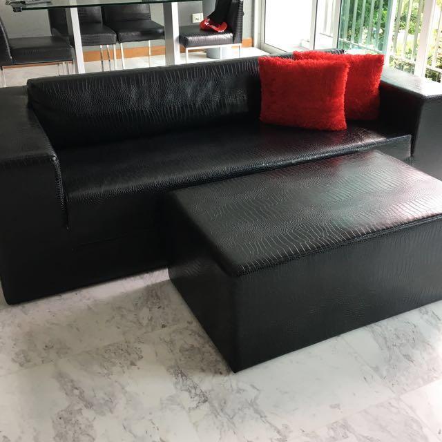 Modern Black Mock Croc Sofa C W Ottoman Furniture Sofas On Carousell