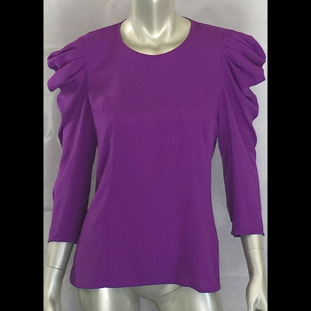 Nicola Finetti Purple Ultra Violet Puff Sleeve Top Size 12