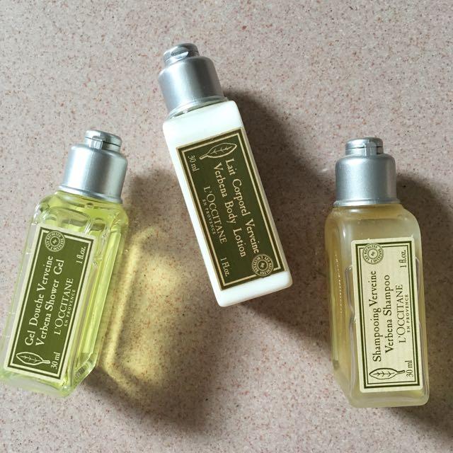Original L'Occitane Verveine Shower Gel, Shampoo, & Body Lotion Set