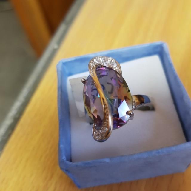 Oval Cut Big Rainbow Mystic Crystal Ring