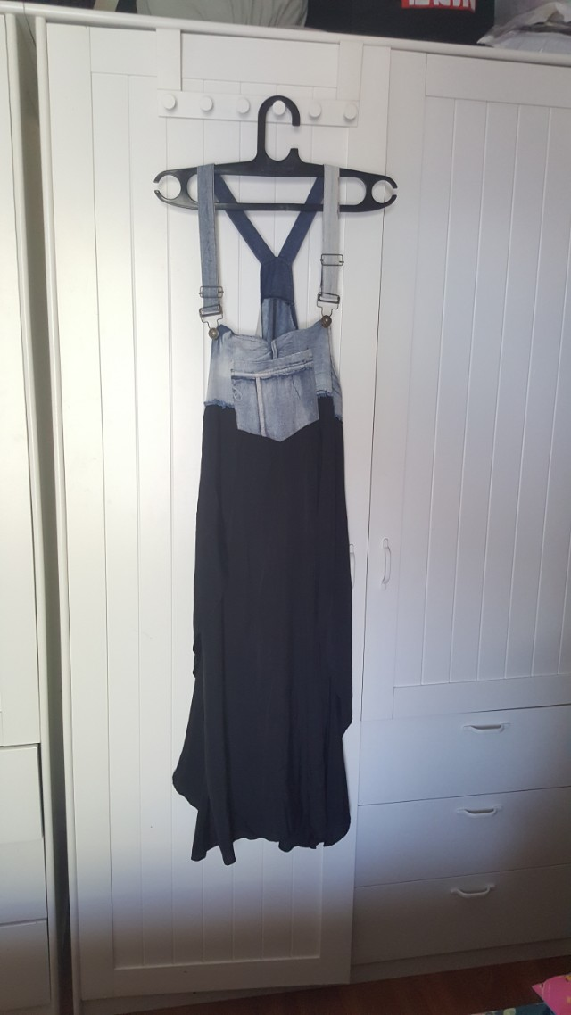 Overall jeans satin