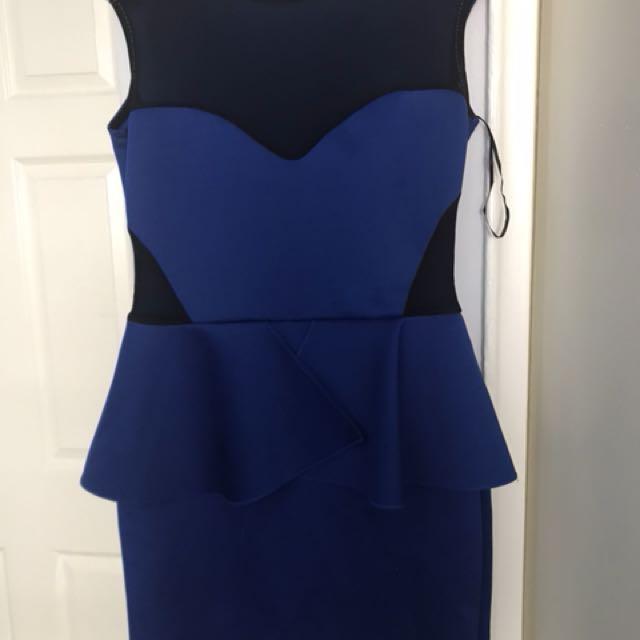 Peplum blue dress