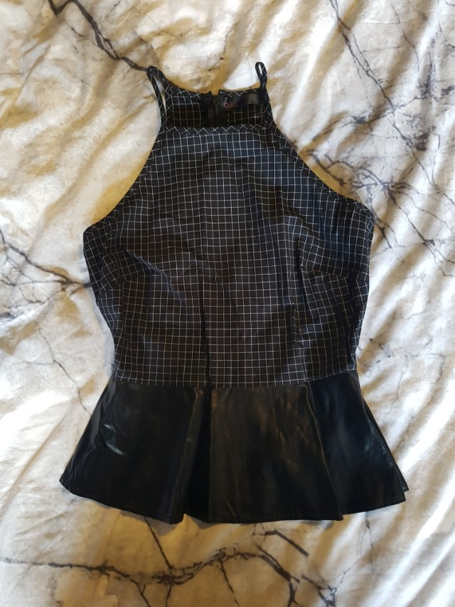 Peplum singlet top with leather