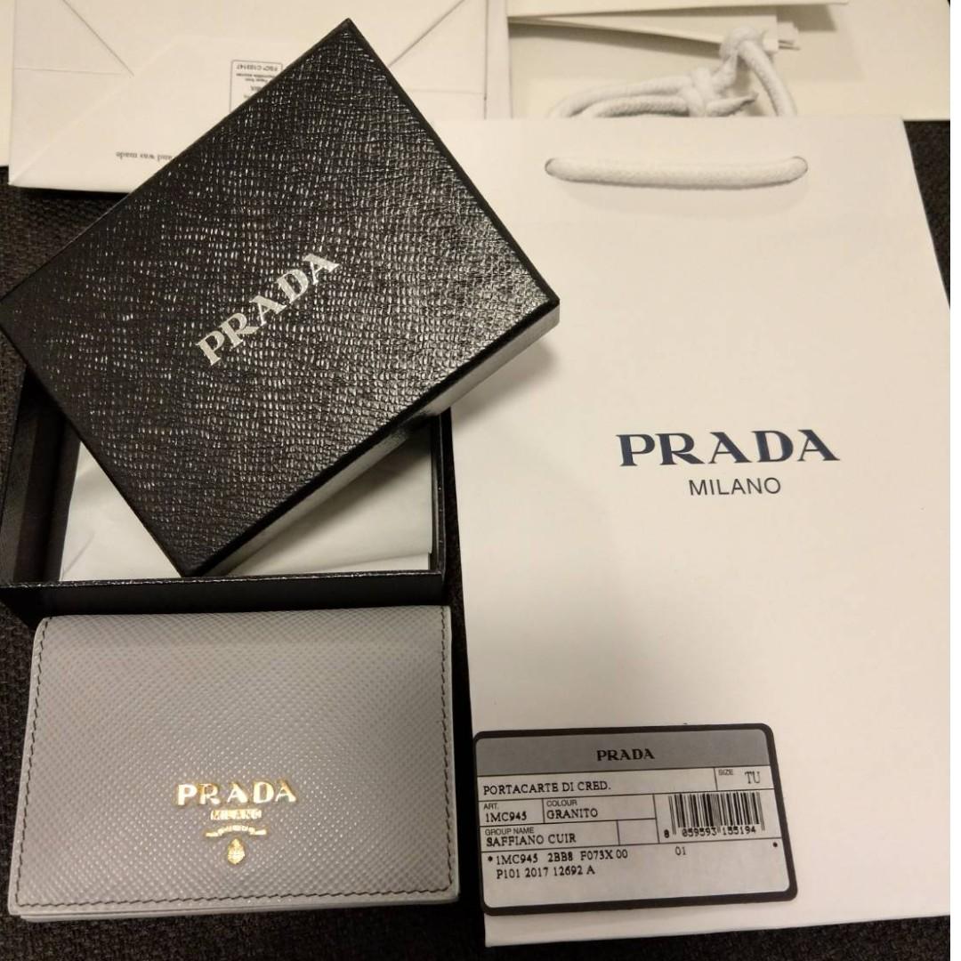65915b44cee0 Prada Name / Credit Card holder in Saffiano leather - granito colour ...