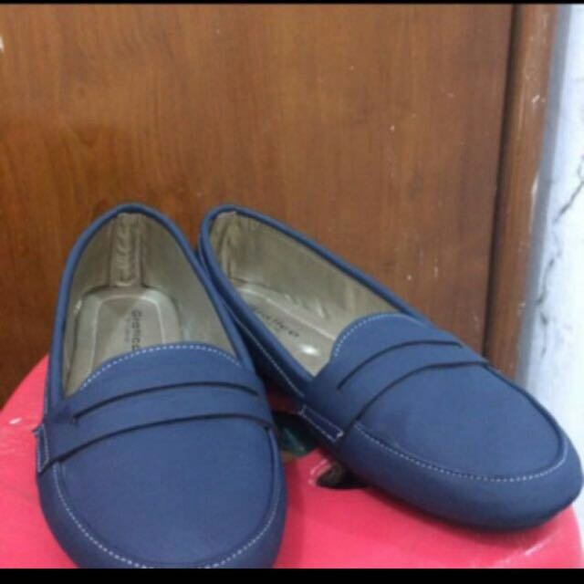 Preloved like new flatshoes navy biru dongker