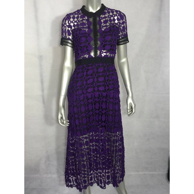 Purple Ultra Violet Lace Sheer See-through Split Midi Maxi Dress Celeb