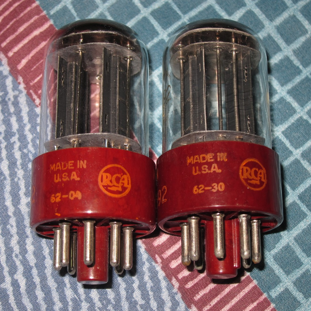 rca red base 5692 6sn7 US joint army navy strong pair tubes
