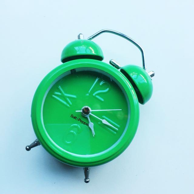 SALT & PEPPER GREEN ALARM CLOCK