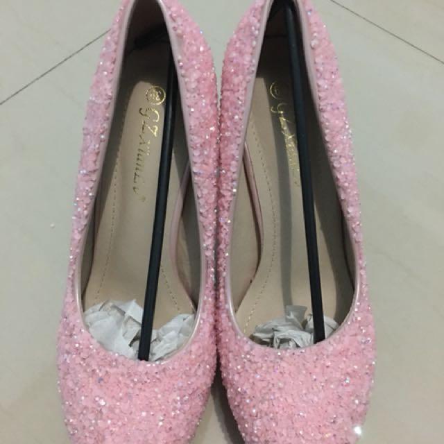 sepatu bling-bling pink