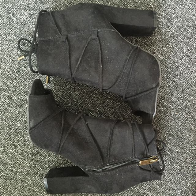 Size 7 Black open toed boots