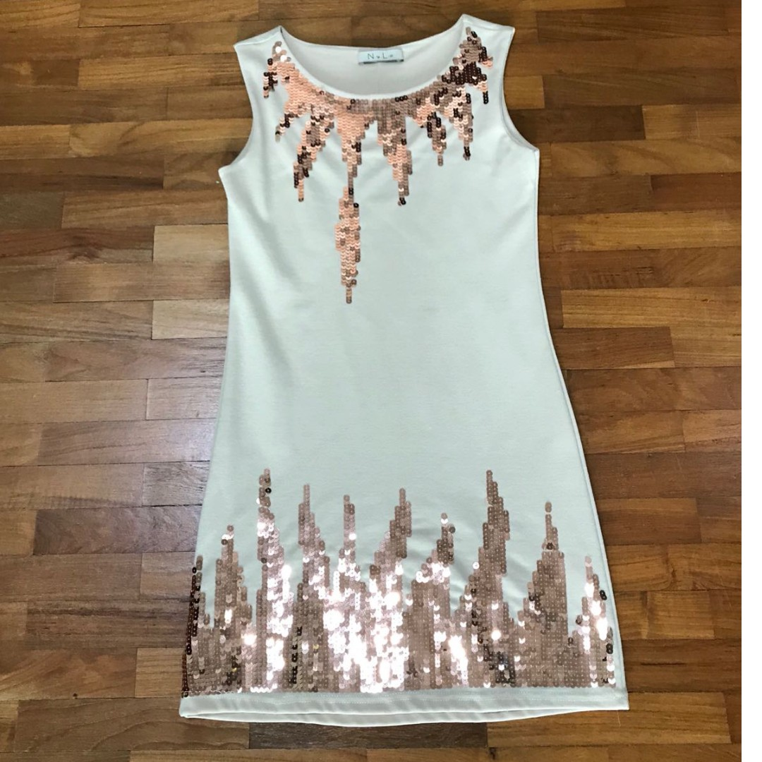 Stunning Nyla Beige Cocktail Dress / Party Dress with Gold Sequin ...