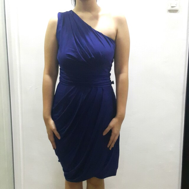 Tango navy blue one shoulder dress with ruching