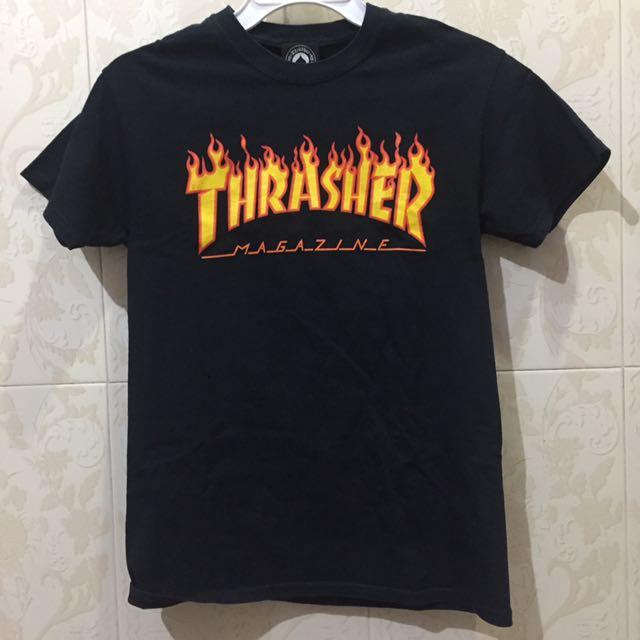 THRASHER FLAME TEE DARK BLUE