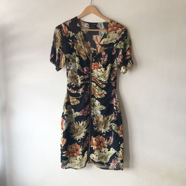 Topshop floral front zipped dress