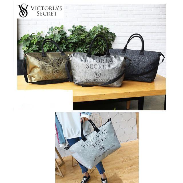 Victoria's Secret Shiny Large Tote Travel Luggage Bag