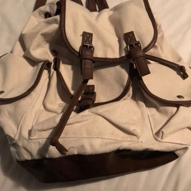White and Brown Backpack