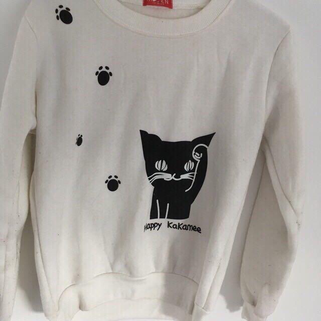 White Sweatshirt Kitty Kawaii Happy Kakamee