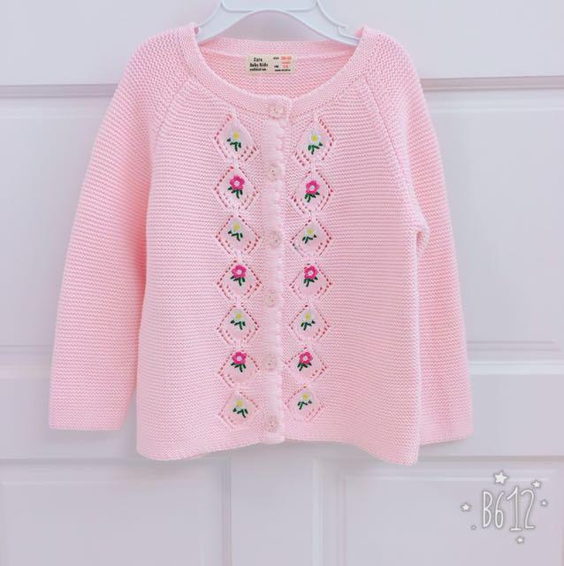 Zara 原單粉色刺繡針織外套