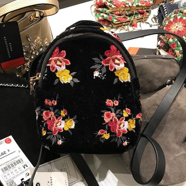 2d1329943cc Zara backpack embroidered, Women's Fashion, Women's Bags & Wallets on  Carousell