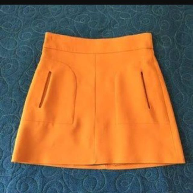 Zara Orange Mini Skirt Size L NWOT