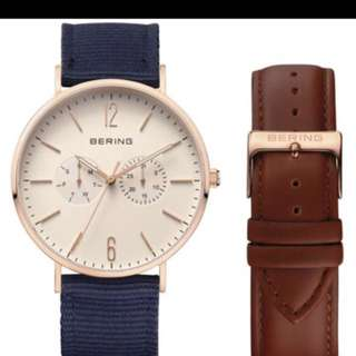 Bering watch Bering Classic Blue Fabric Strap Rose Gold Watch 14240-564 With Leather Strap