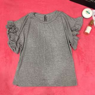 Grey Simple Tops T-Shirt Stretchable
