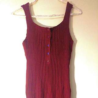 Silence + Noise maroon red ribbed sweater dress