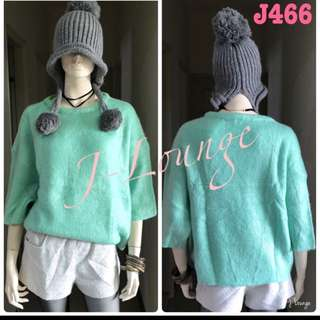 J466全新正韓優質七分袖青蘋果寬鬆毛衣氣質文青小清新學院上學上班森女 sweater J-Lounge
