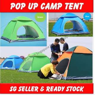 Ultra-lightweight 3-4 person Pop up Camp Tent Waterproof / Anti UV Beach Camping Tent