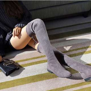 Women's Gray thigh-high Suede Boots