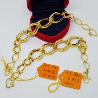 916 Gold Adult Fashion Bracelet