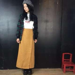 第二件六折*新品芥末黃棉質排扣直筒長裙