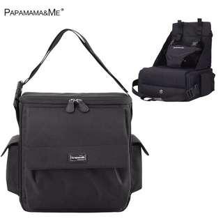 全新黑色PapaMama&Me 折疊式奶粉袋連BB座椅(單肩背囊兩用)