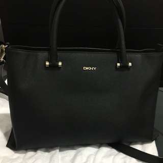 Authentic DKNY black leather bag