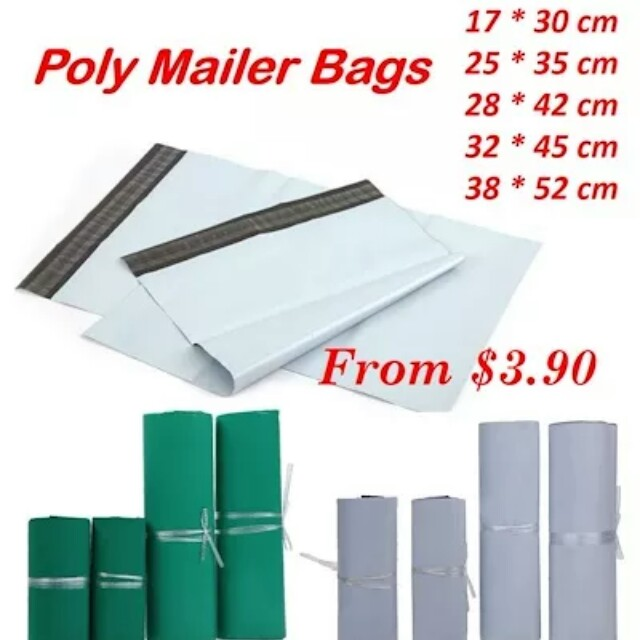 Polymailer 100pcs/Set White Green Logistics Courier Mailing Bag Envelope Shipping Self Adhesive Sea(In stock)