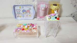 My melody decoden cotton pad holder or acrylic box, cinnamoroll or my melody cotton bud dispenser , and little twin stars metal serving tray