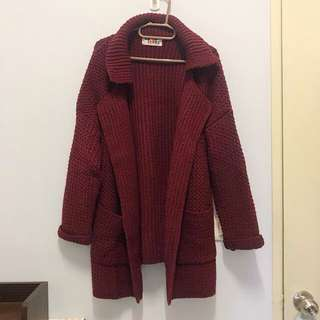 🚚 酒紅針織厚外套 厚針織外套 酒紅外套 冬天外套