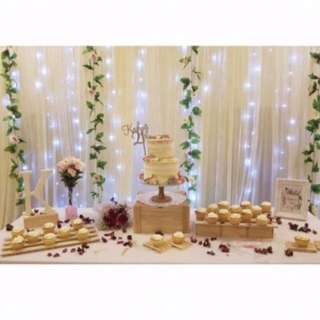 Backdrop Rental and Dessert table (Wooden Theme)