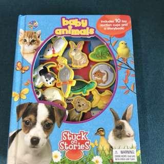 Interactive book stuck on stories baby animals