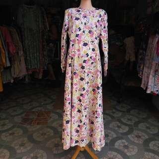 Gamis / abaya / busana muslim motif bunga