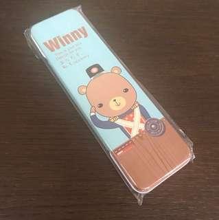 BN mint blue Winny Japanese bear metal pencil case box stationery