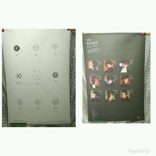 2張二手SM夢工廠最強年度新男孩團體 EXO 第三張正規專輯EX'ACT海報