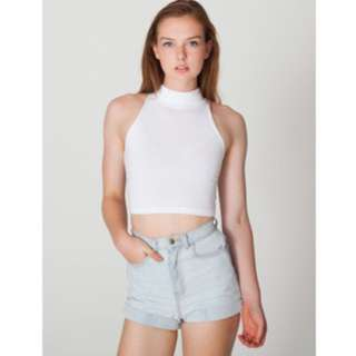 American Apparel White Sleeveless Turtleneck Crop Top