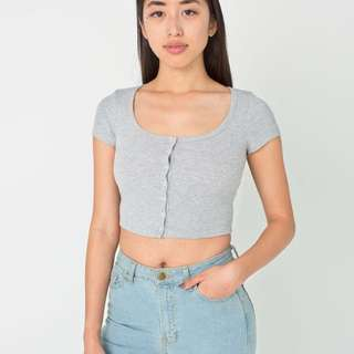 American Apparel Button Up Crop Top
