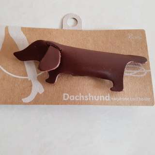 Dog / Dog-shaped Earphone cord holder (leather)