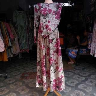 Gamis / abaya / baju muslim merah